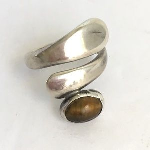 Vintage Taxco Modernist Tiger Eye Sterling Ring